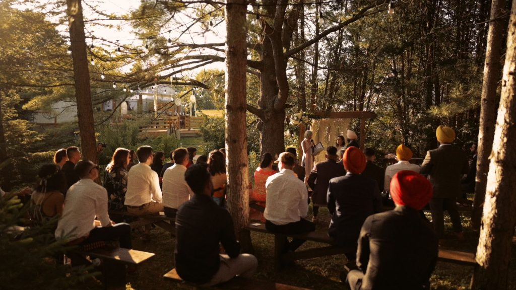 Bohemian wedding ceremony in the forest